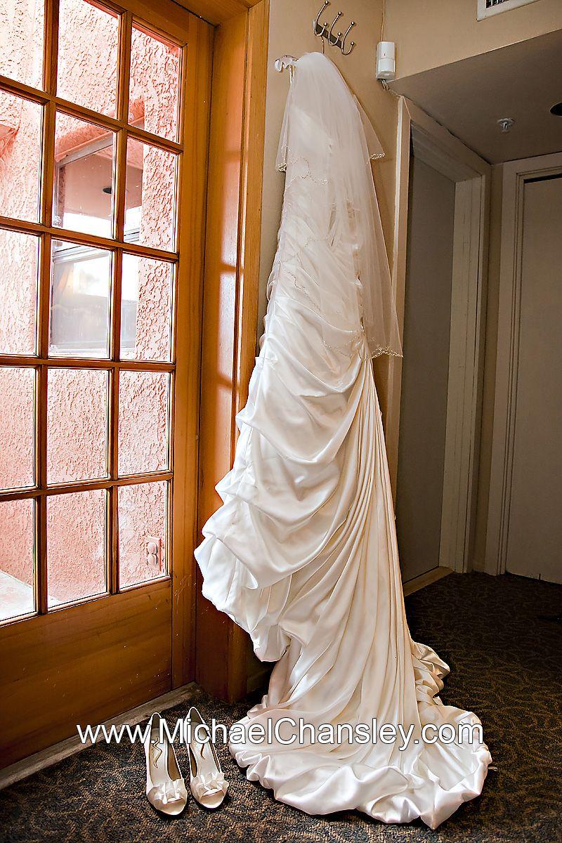 Brides wedding dress and shoes displayed at La Mariposa Resort ...