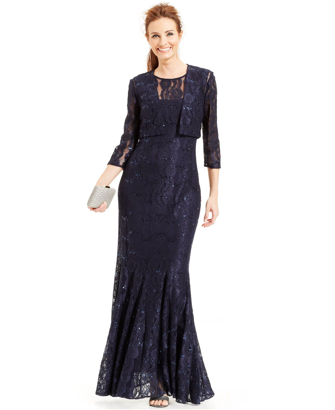 Alex Evenings Sequin Lace Mermaid Gown and Jacket - Mother of the ...