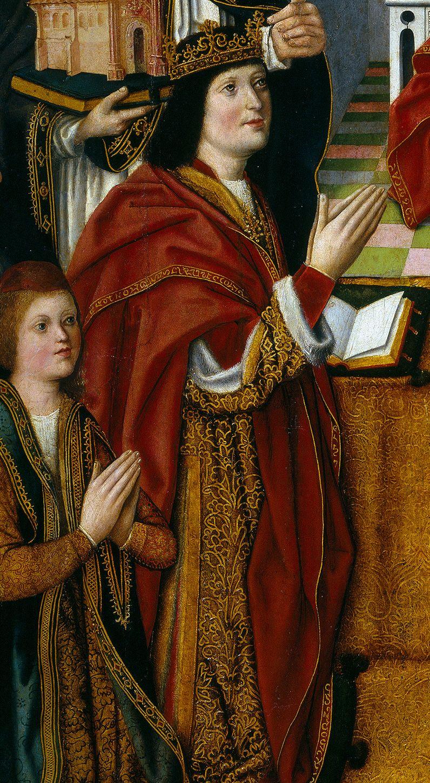 """Fernando II de Aragón (y el príncipe Juan) en el cuadro conocido como """"la virgen de los Reyes Católicos"""" (c. 1491-1493) que se encuentra actualmente en el Museo del Prado (vía Wikipedia)"""