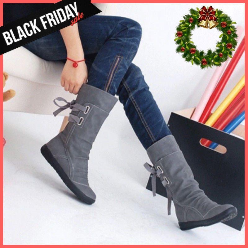 Nuevas Botas De Invierno Para Mujer Con Cordones A Media Pierna Plana 3 Colores Ebay Winter Boots Boots Over Knee Boot