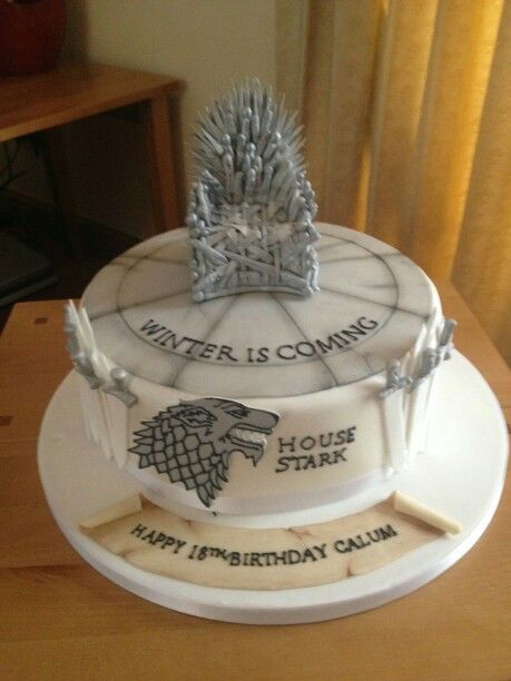 game of thrones birthday cake house stark winter is coming. Black Bedroom Furniture Sets. Home Design Ideas