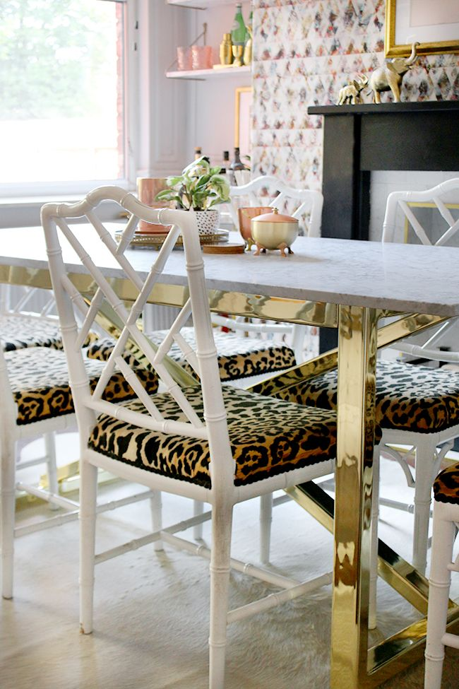 Dining Room With Marble Table And Br Base Faux Bamboo Chairs