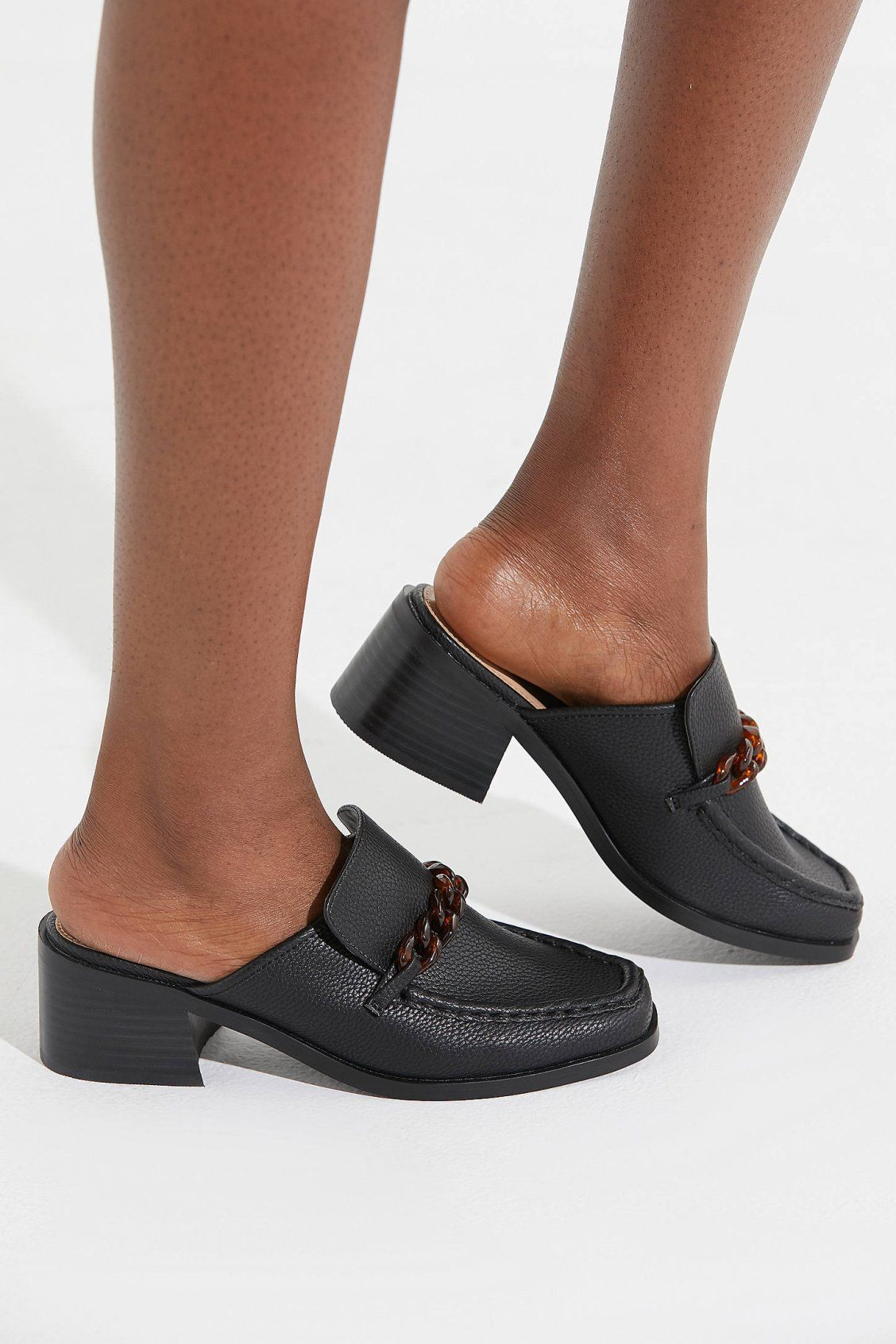 ea250a2d16a UO Gia Chain Trim Heeled Loafer