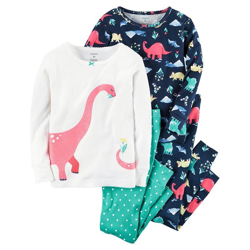 c100f1590 Girls 4-12 Carter s 4-pc. Dinosaur Pajama Set
