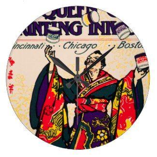 Vintage Japanese Kimono Man Printing Ink Ad Juggle Wall Clocks #vintageprinting #printingink #iconographique