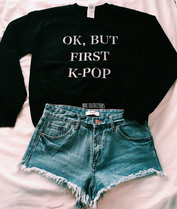 Ok, but first K-pop Crewneck Sweatshirt