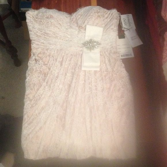 Never worn strapless formal dress Ivory/Nude strapless formal lace dress. Made to fit tight, size 14. Comes with extra beads. Never been worn. Dresses Strapless