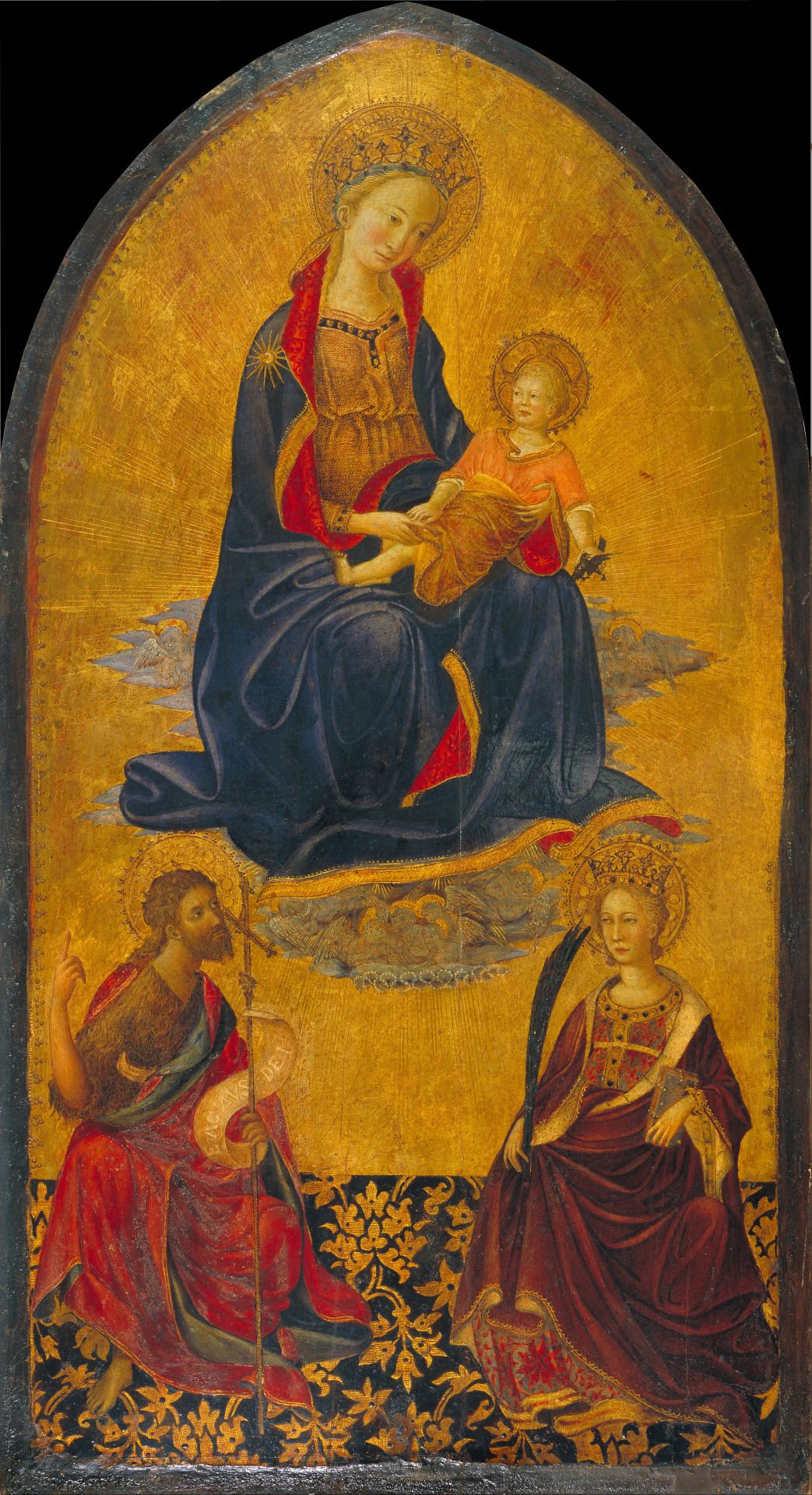Gherardo Starnina (1354 - 1413) - Adoration of the Virgin and Child by Saint John the Baptist and Saint Catherine