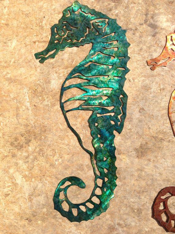 Custom Metal Seahorse Wall Art Green by SCHROCKMETALFX on Etsy $50.00 & Custom Metal Seahorse Wall Art - Green | Custom metal Seahorses and ...