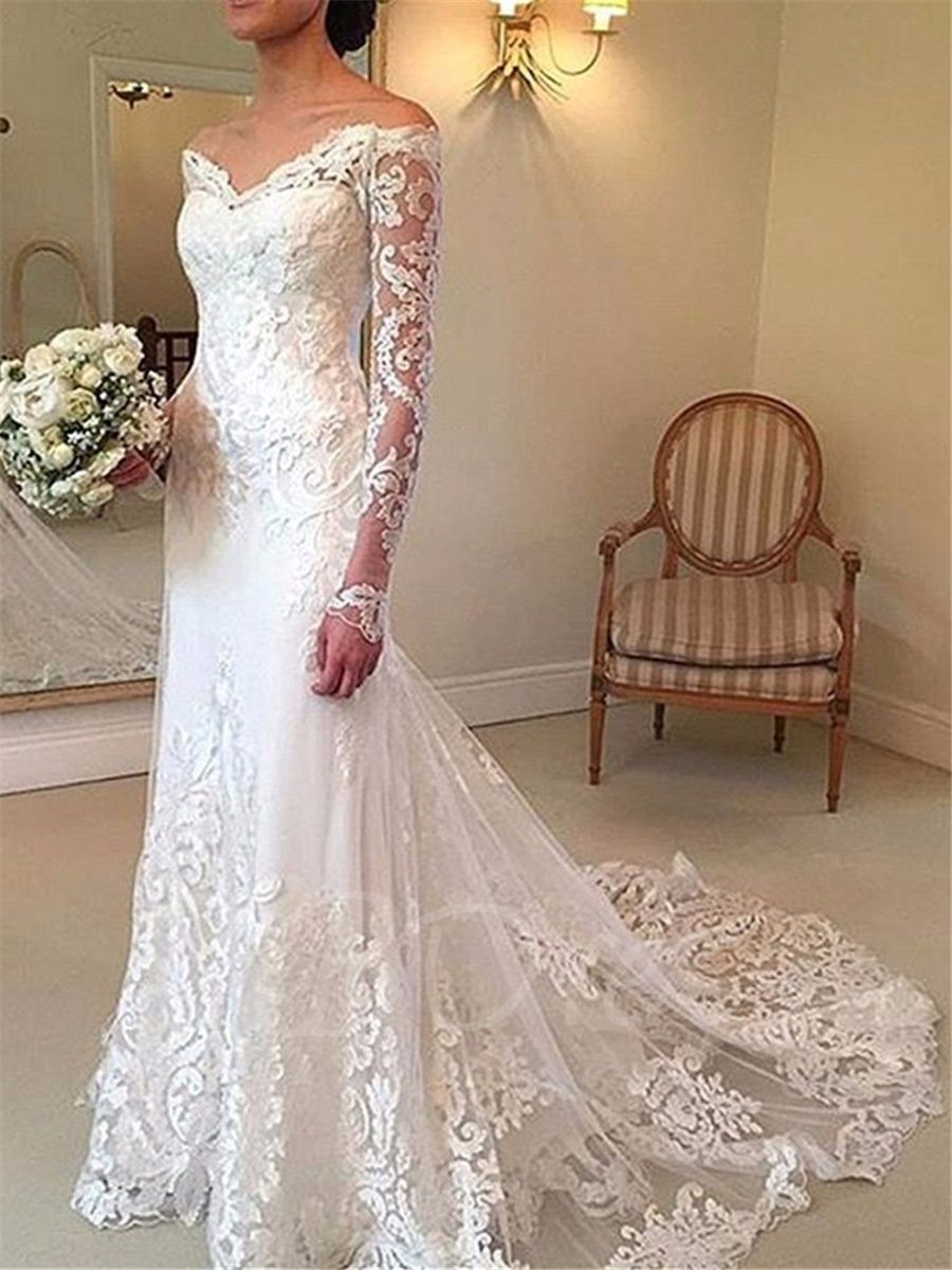 Mermaid Lace Wedding Dress With Long Sleeve Online Wedding Dress Long Sleeve Wedding Dress Lace Cheap Wedding Dresses Online [ 1200 x 900 Pixel ]