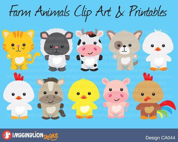 Farm Animals Clip Art Printables Set By Imaginationshake Farm Animals Preschool School Kids Crafts Baby Farm Animals