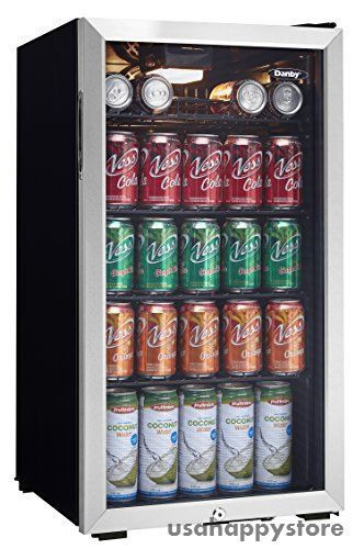 Can Refrigerator Glass Door Beverage Cooler Stainless Steel Soda Wine Mini  Drink #Danby