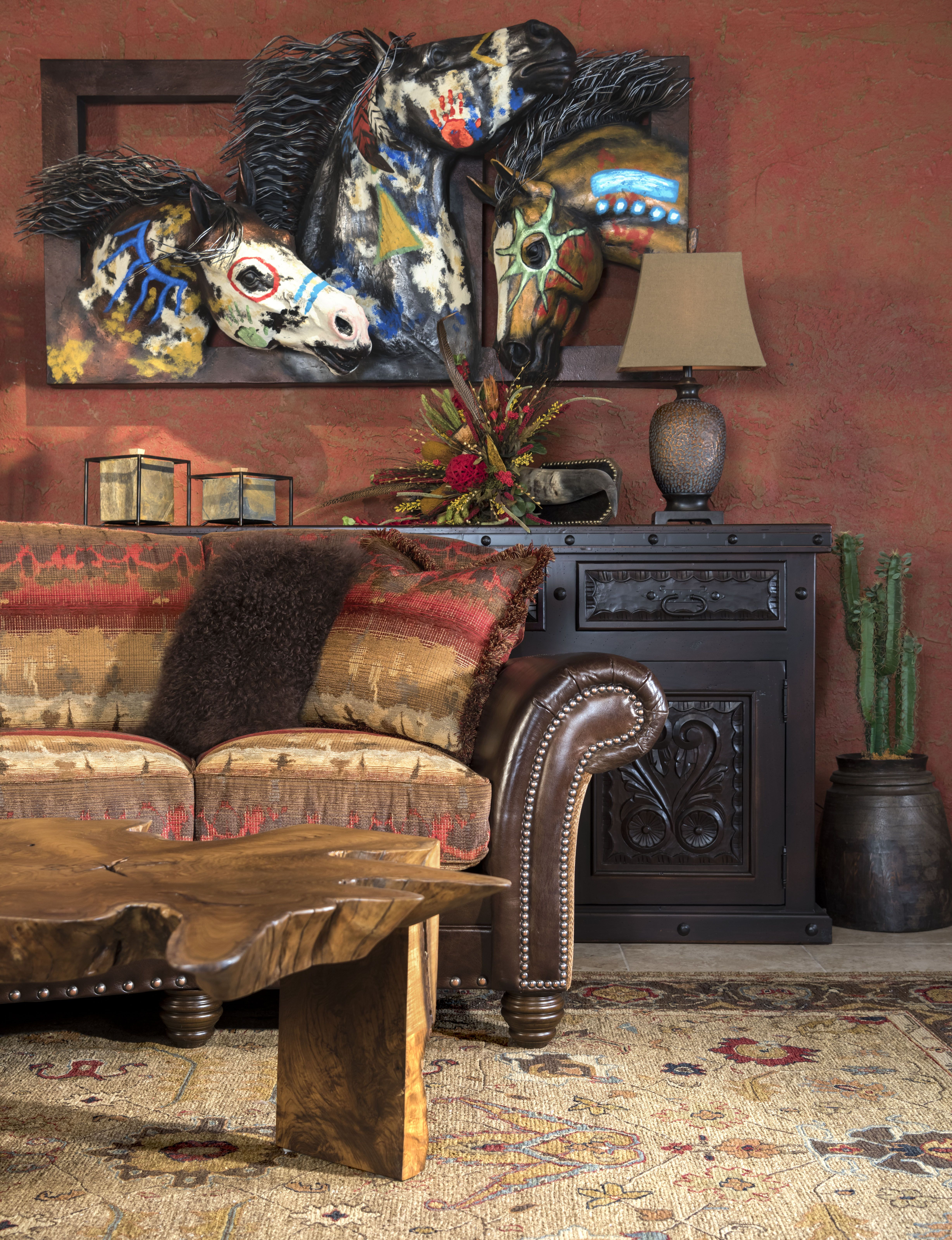 Southwestern Style Sofa And Warhorse Painted Horse Sculpture At Adobe Interiors Call Text 817 294 0053 For More Information