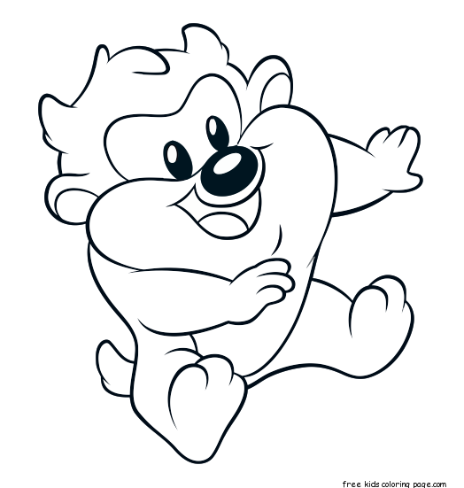 Free printable baby looney tunes taz coloring pages for kids ...