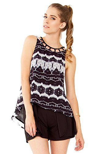 134fbb9b6b35f The Sugarlips Different Strokes Top is a black and white abstract printed  high low tank.