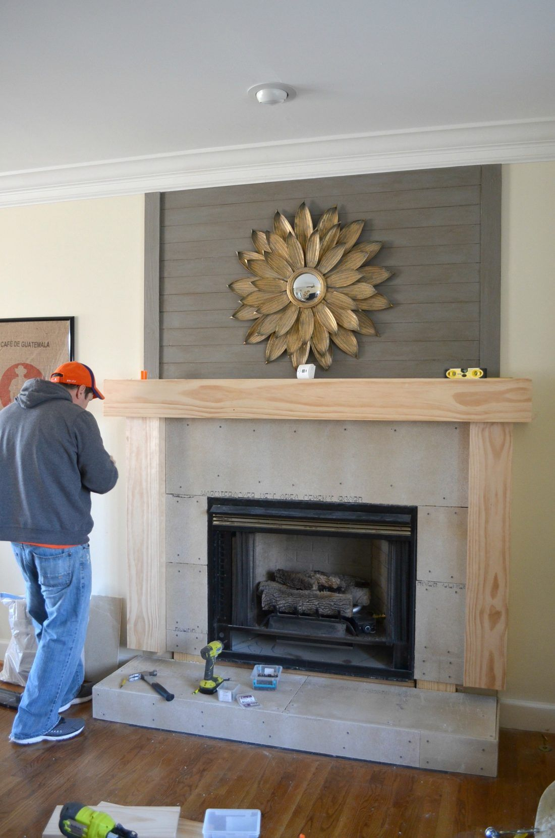 Stone And Shiplap Fireplace