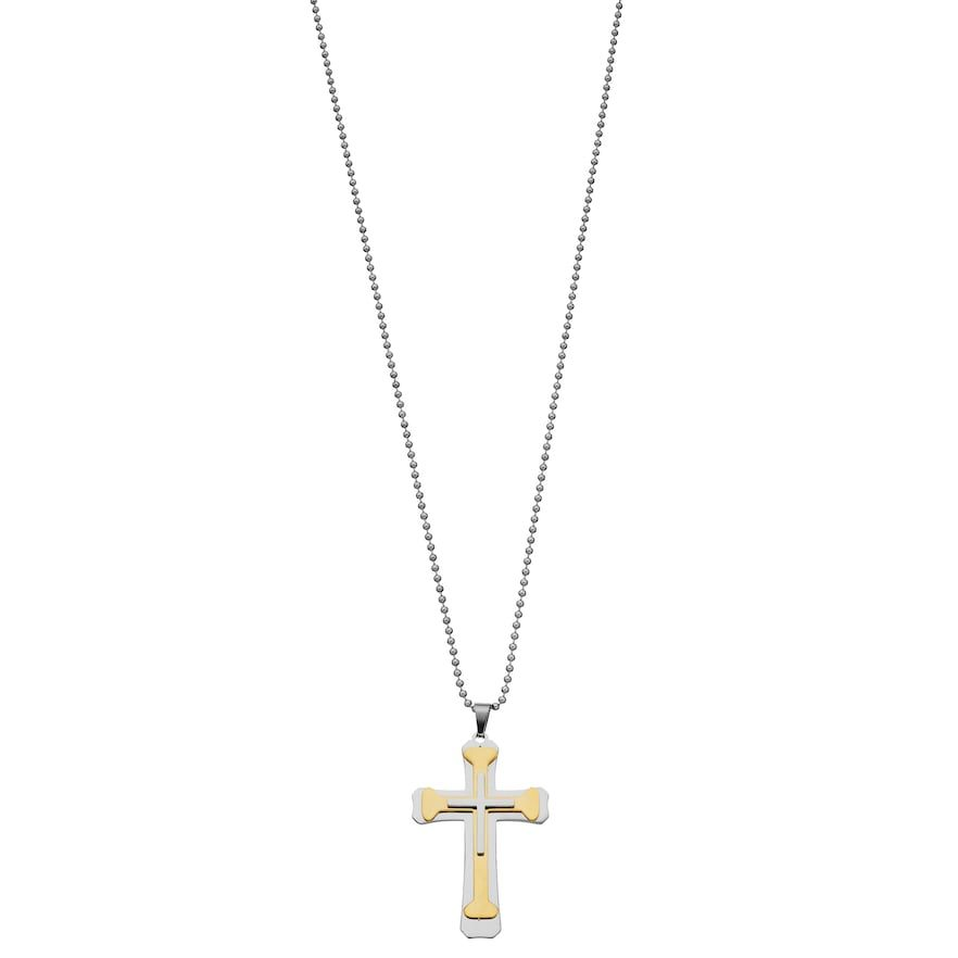 1913 Men S Two Tone Stainless Steel Layered Cross Pendant In 2020 Stainless Steel Cross Pendant Cross Pendant Layered Crosses