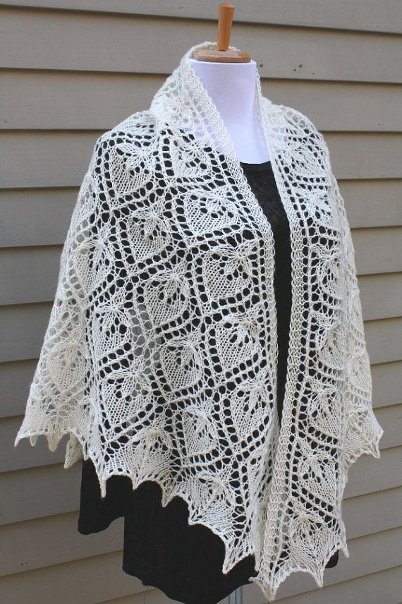 Knitted Shawl Triangular Estonian Lace Water Lily Off White