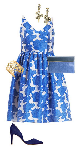 Here Comes The Guest - Bridal Shower:  Be your bride's something blue on the day of her shower in this monochromatic look.   Find Samantha's Style Corner from the Stylewhile app!