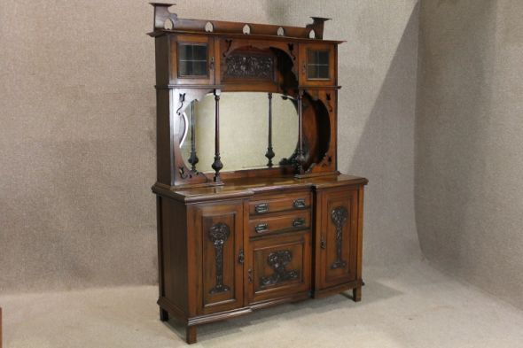 Art Nouveau Furniture Reproduction Sideboard In Red Walnut