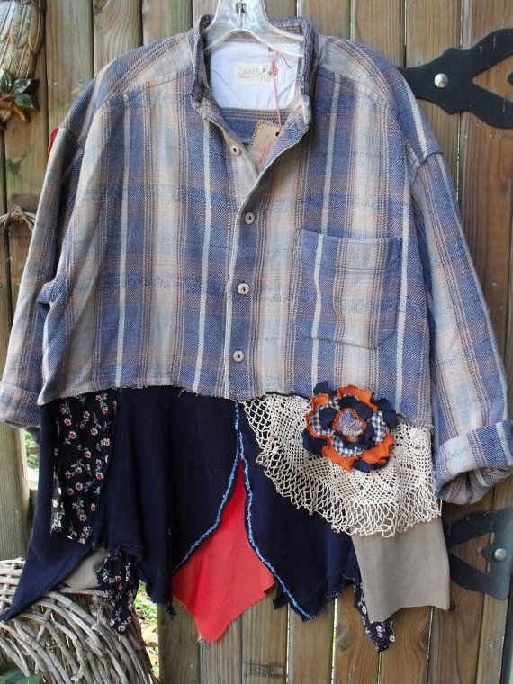 Plus Size tunic/Homespun Shirt/Multi Skirt by SheerFab on Etsy