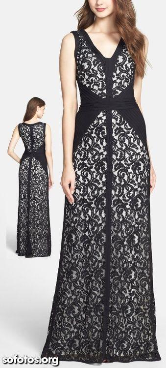 Vestido longo rendado preto e branco
