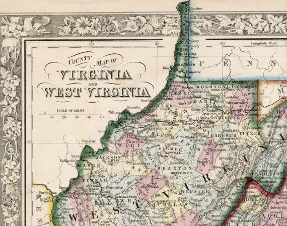 Antique Map of Virginia and West Virginia   1864 Handcoloured     Antique Map of Virginia and West Virginia   1864 Handcoloured Mitchell Map