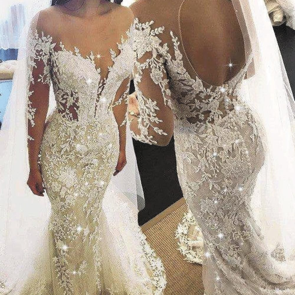 Mermaid Champagne Wedding Dresses 2020 Lace Applique Elegant Beaded Luxury Wedding Gowns Wedding Dress Champagne Long Sleeve Wedding Gowns Wedding Dress Silhouette Guide [ 1000 x 1000 Pixel ]