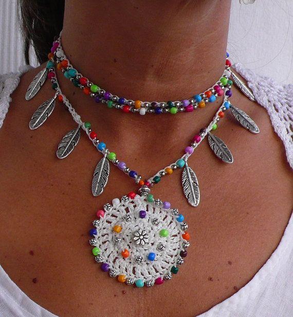 WHITE Ethnic MANDALA crochet NECKLACE Silver Feathers-Hippie chic- Beaded Crochet Pendant-Tribal jewelry