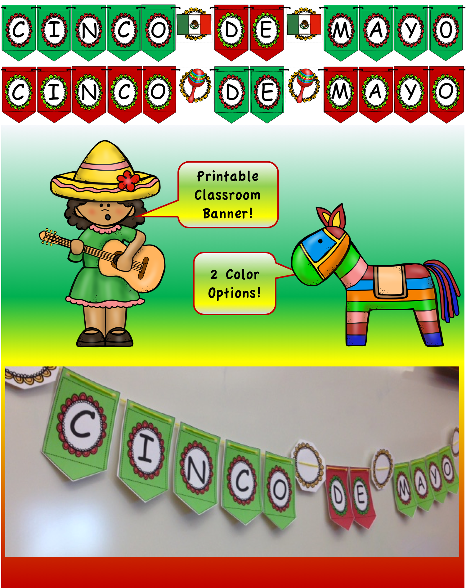 Cinco De Mayo Banner 2 Color Options With Images