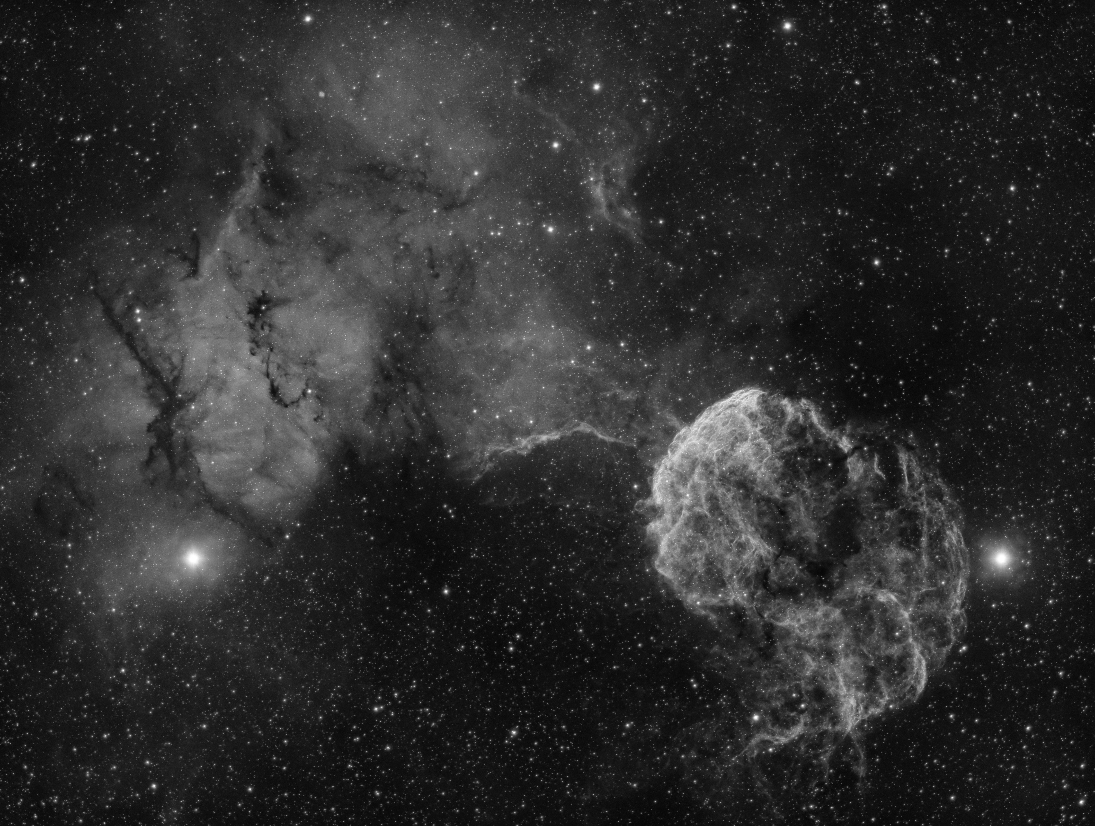 The Jellyfish Nebula (IC443) imaged in Hydrogen-alpha