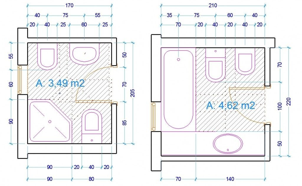 Esempio dimensioni sanitari bagno bathroom pinterest interiors - Dimensioni sanitari bagno ...