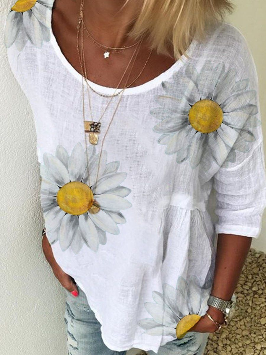 Summer Women T Shirts Daisy Print T-shirts Short Sleeve Loose Casual Tops Q1W2