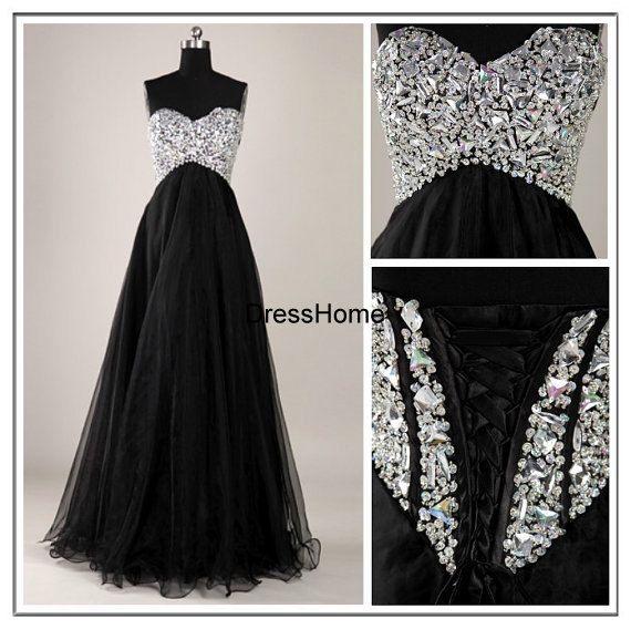 4060354d7 Vestido negro largo con brillos  9