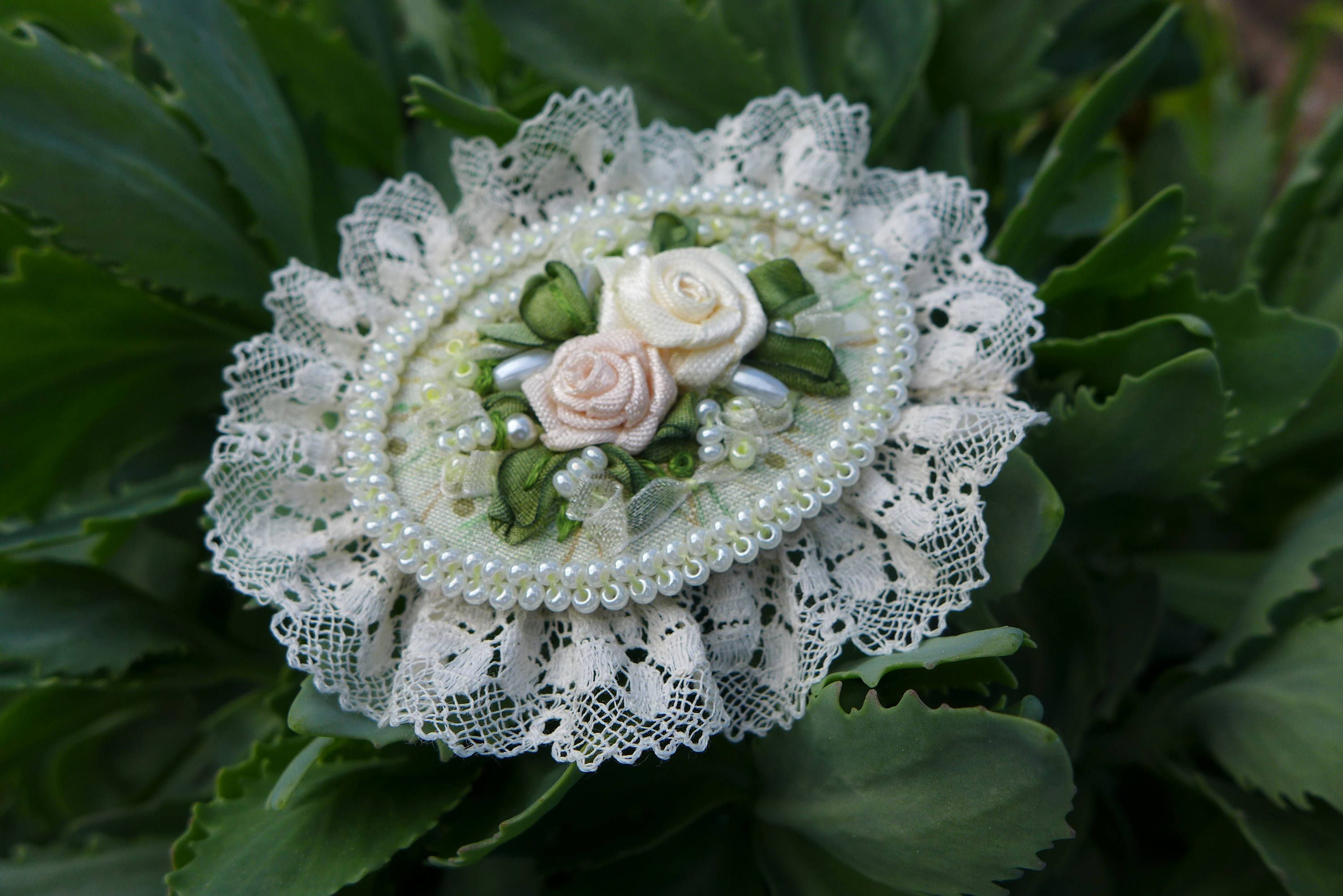 White-green vintage inspired victorian style romantic cameo brooch one of a kind handmade textile jewelry with ribbon embroidery and roses by Virvi on Etsy