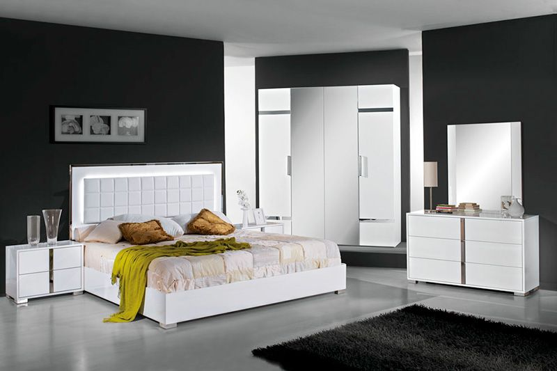 Elite White High Gloss Bedroom Furniture Set 5 Chambres A