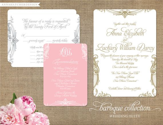 Baroque Monogram Wedding Collection - Custom Wedding Invitation, Reply Card, Enclosure Card - Custom monogram - Personalize for your wedding. $75.00, via Etsy.