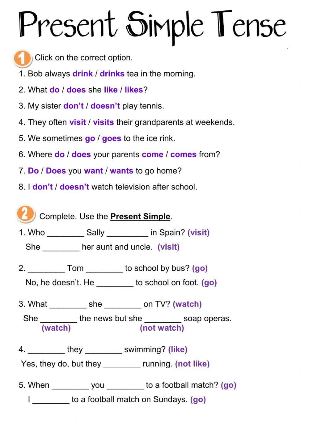 Present Simple interactive and downloadable worksheet. You can do the  exercise…   Simple present tense worksheets [ 1411 x 1000 Pixel ]