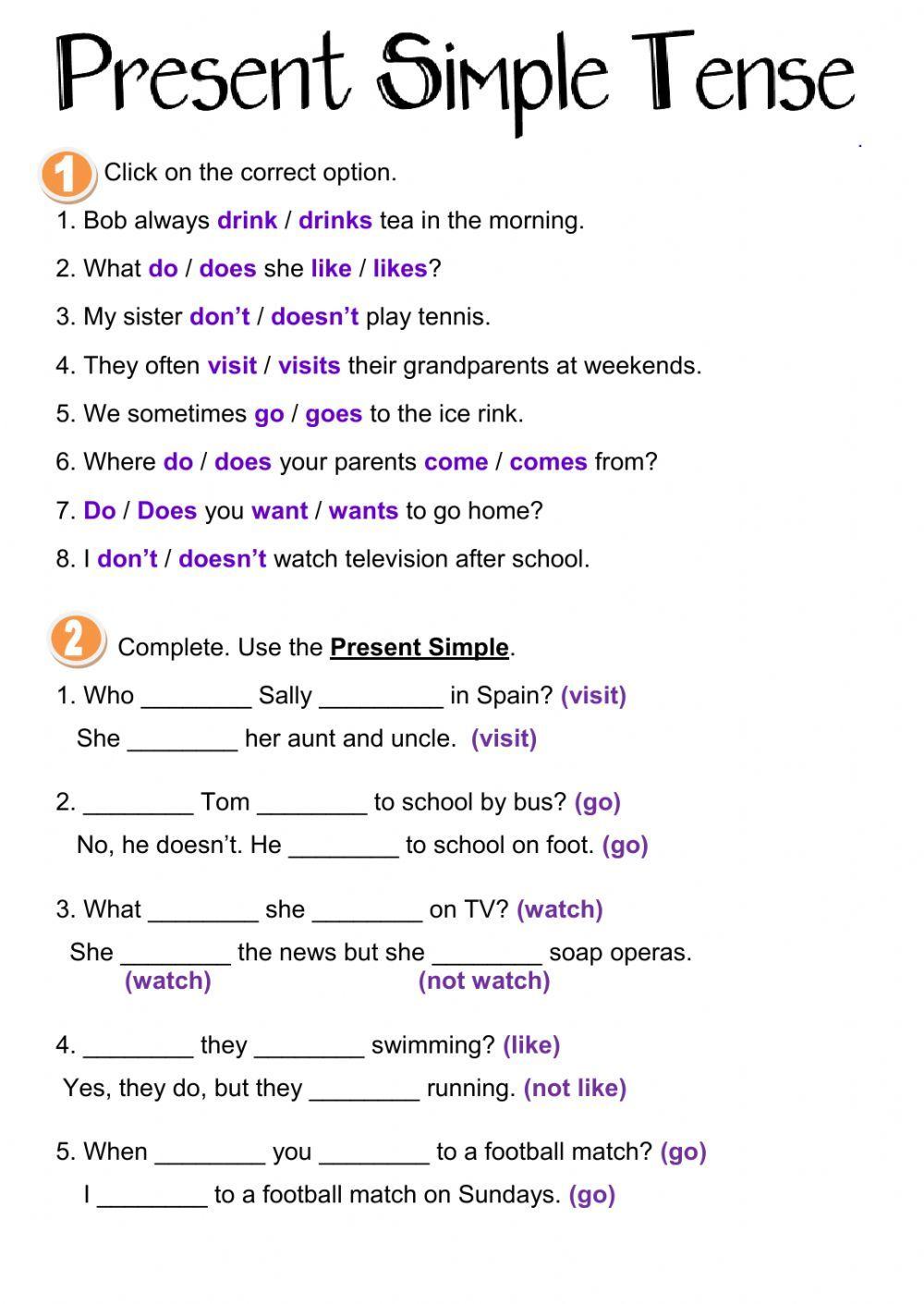 Ejercicios de tiempo presente simple en ingles