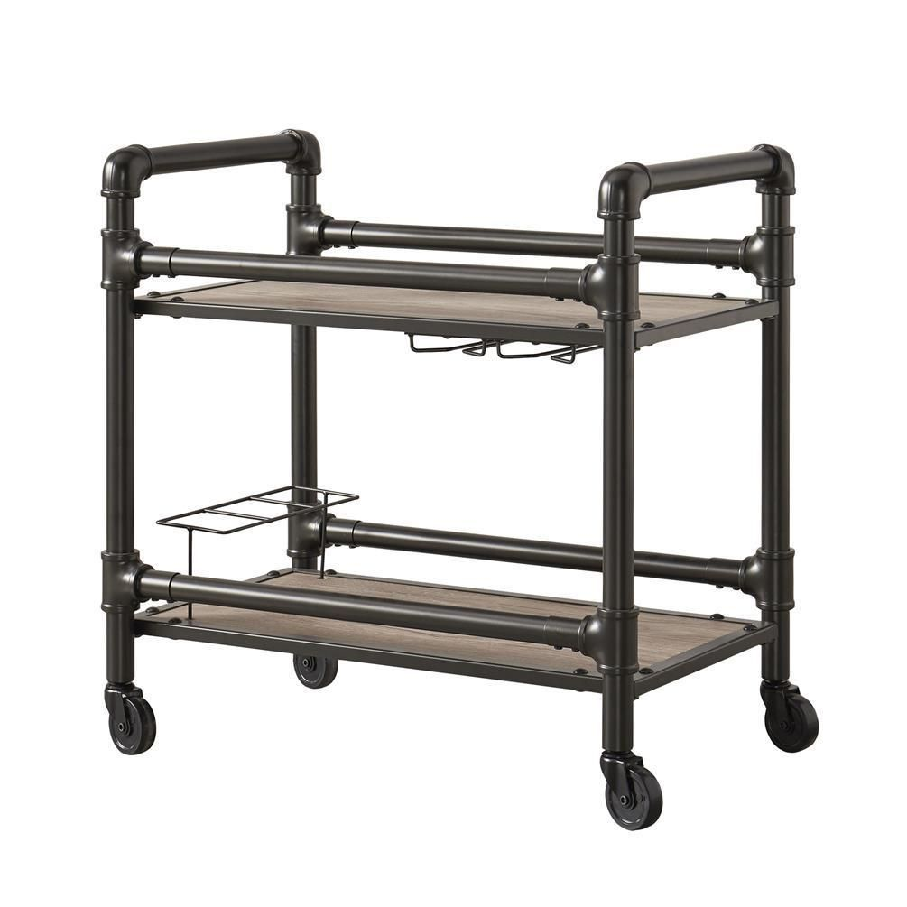 Serving Cart 4 Wheels 2 Shelves Bottle Holders Stemware Storage Metal Mdf Ebay