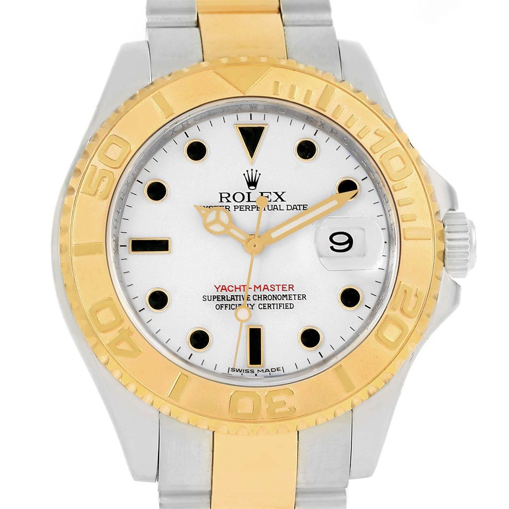 rolex yachtmaster steel yellow gold white dial mens watch