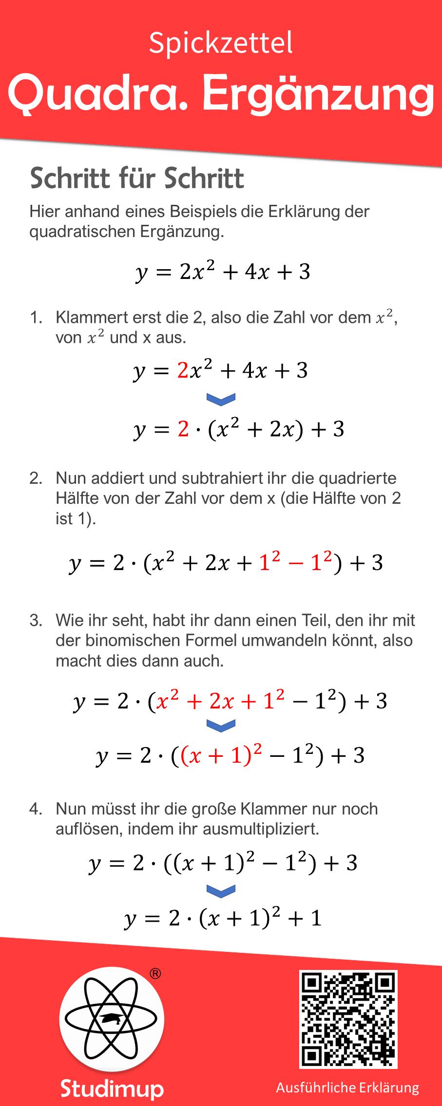 Quadratische Erganzung Spickzettel Spickzettel Nachhilfe Mathe Mathematik Lernen