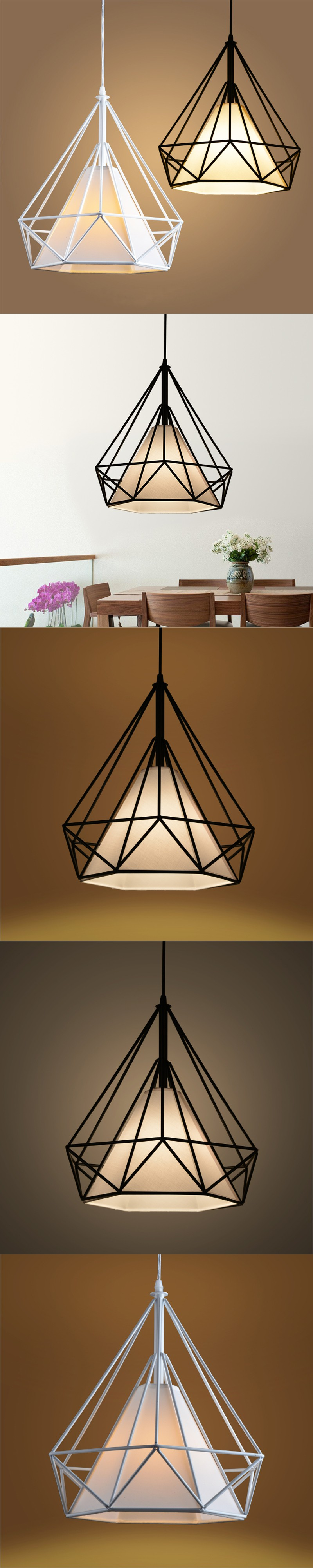 American Industrial Loft Vintage Geometric Cage Pendant Lights For Dining Room Iron Black E27 Edison Bulb Home Decoration Lamp