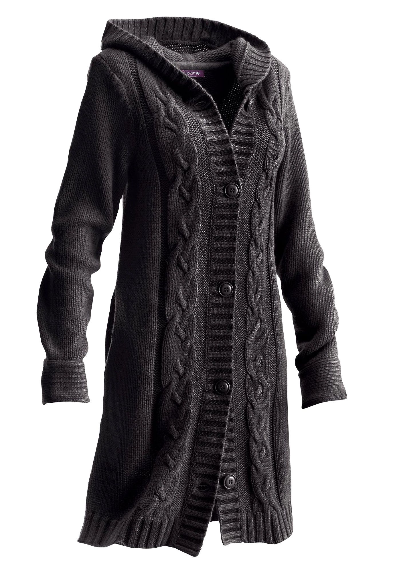 Plus Size Long Hooded Cardigan image (With images) Plus