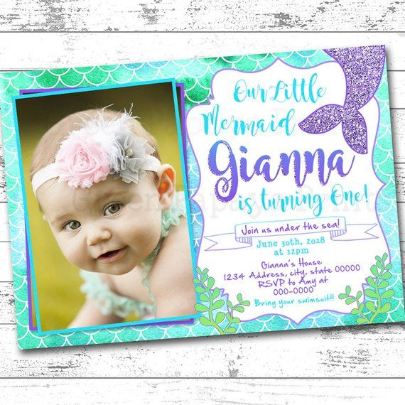 Mermaid Birthday Invitation First Purple Teal Green Glitter Tail Party Invite Printable Digital File