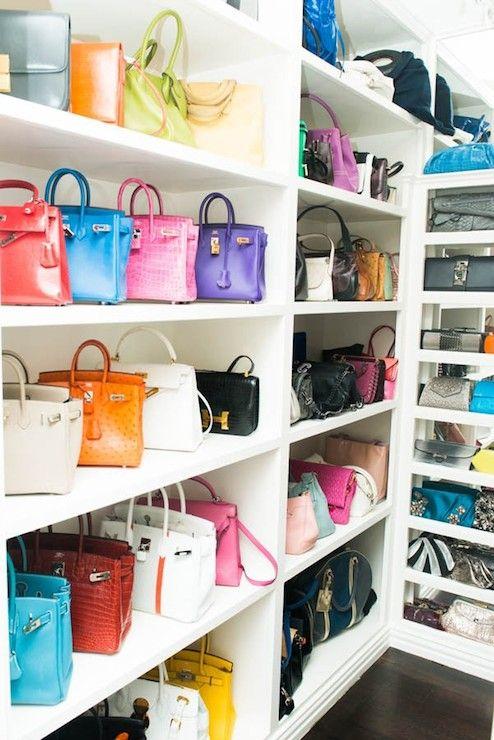 Beau The Coveteur   Closets   Handbag Closet, Bag Closet, Shelves For Bags,  Shelves For Handbags, Mirrored Backsplash, Closet With Mirrored Walls.