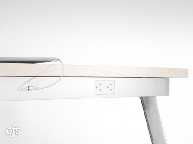 OFS | Products | Tables & Reception | Tables | Trace - Trace brings both USB and 110V power, as well as VGA and HDMI support directly to individual seating positions, regardless of the surface material.    Its minimal profile and location at the edge of the table provide easy access with out sacrificing the interior surface area of the table.