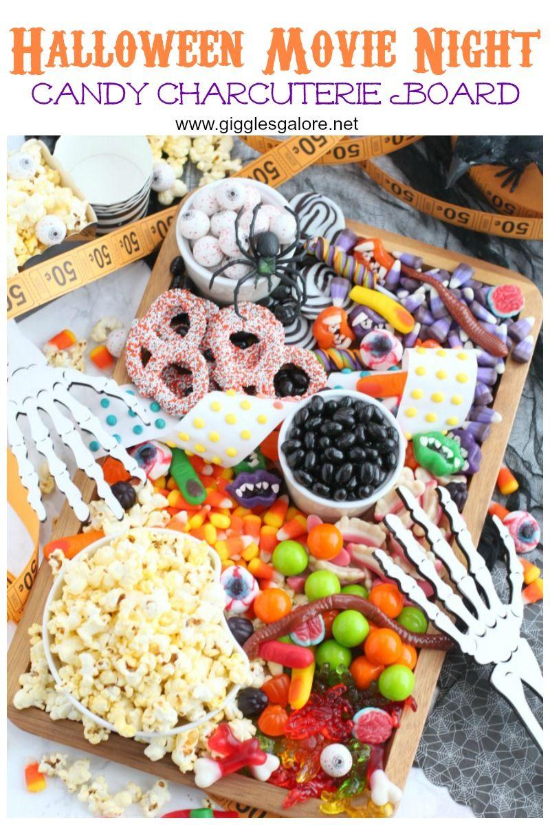 Halloween Movie Night Candy Charcuterie Board Halloween