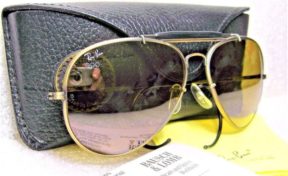 37e5e16dc0 RAY-BAN NOS VINTAGE B L AVIATORS Diamond Hard RB-50 GENERAL Bronze NU  SUNGLASSES  RayBanbyBauschLomb  AviatorOutdoorsmanII