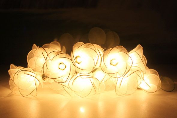White Flower String Lights For Party And Decoration Bulbs - Flower string lights for bedroom
